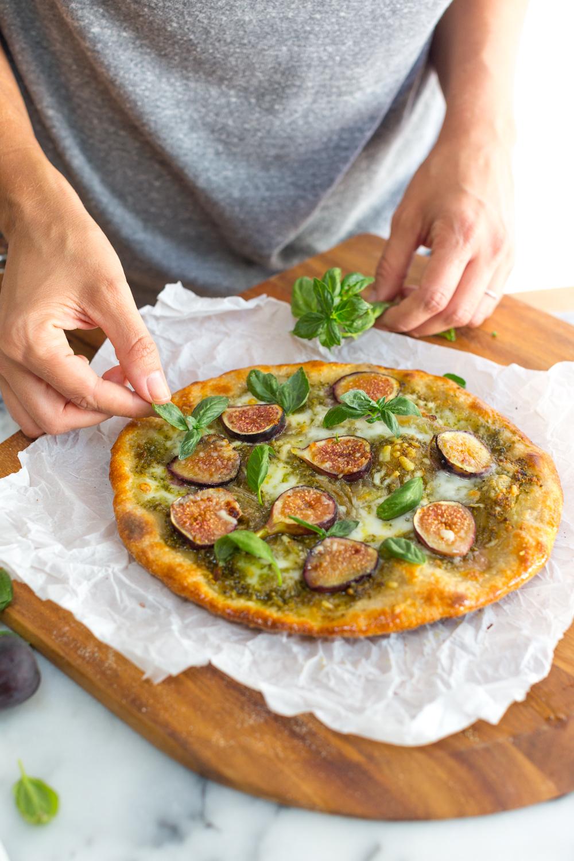 Fig and Pistachio Pesto Pizza add basil