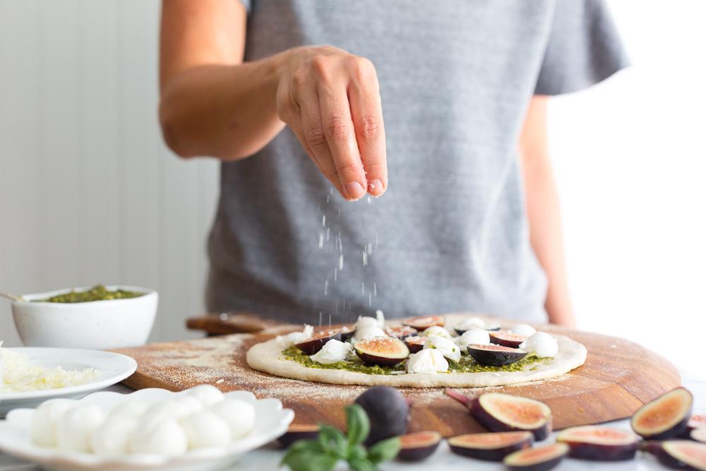 Fig and Pistachio Pesto Pizza pecorino sprinkle