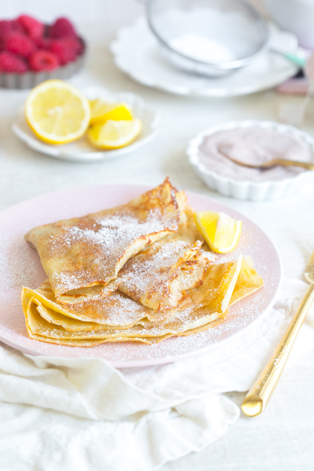The Best Basic Crepes with cinnamon sugar and lemonThe Best Basic Crepes with cinnamon sugar and lemon.