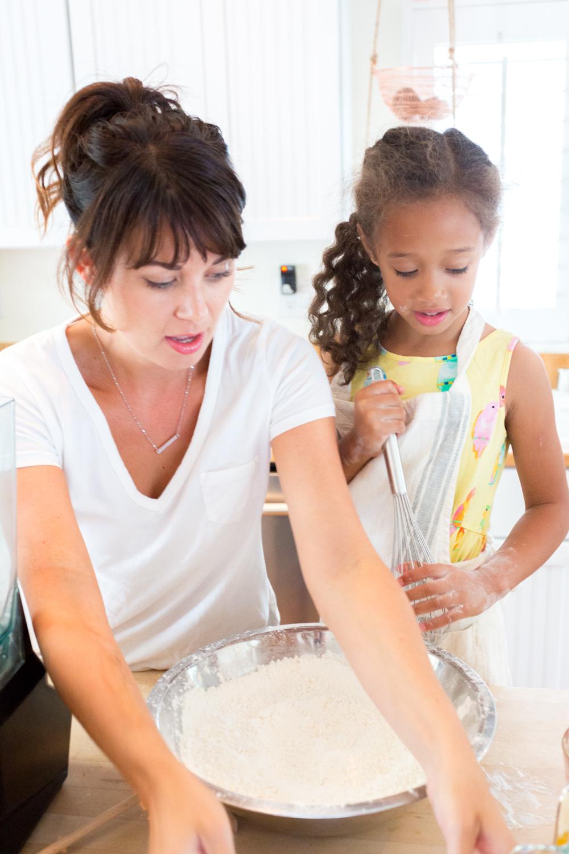 Anu & I measuring dry ingredients