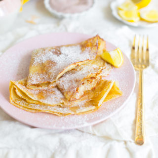 The Best Basic Crepes by with cinnamon sugar and lemon.