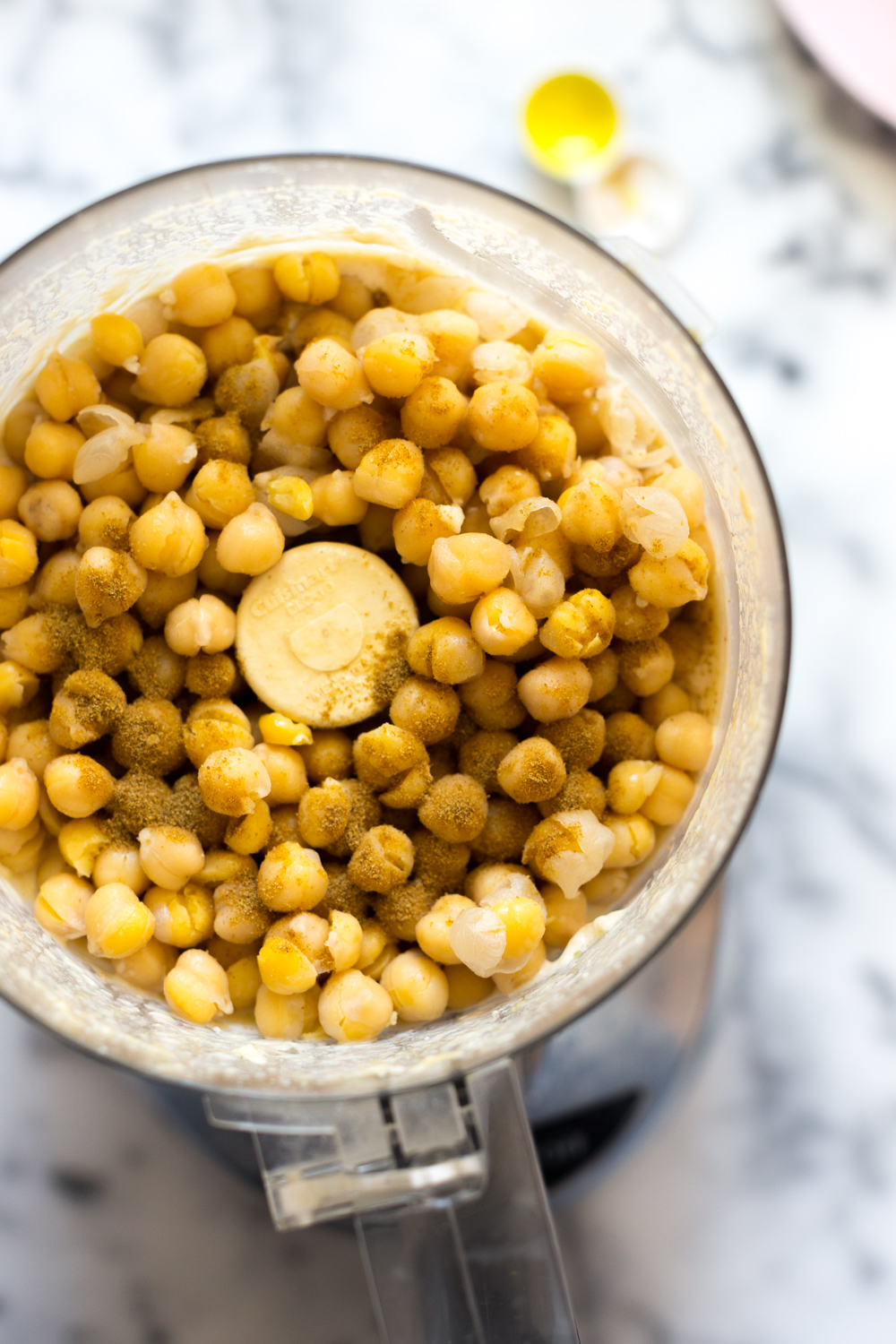 Creamy Dreamy Hummus add chickpeas.