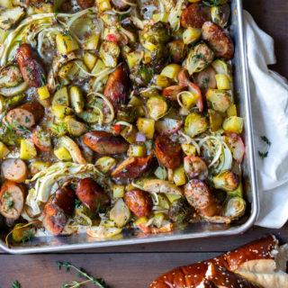 Sausage Apple & Fall Veggie Sheet Pan Dinner with Mustard Vinaigrette