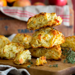 Apple Cheddar and Thyme Scones