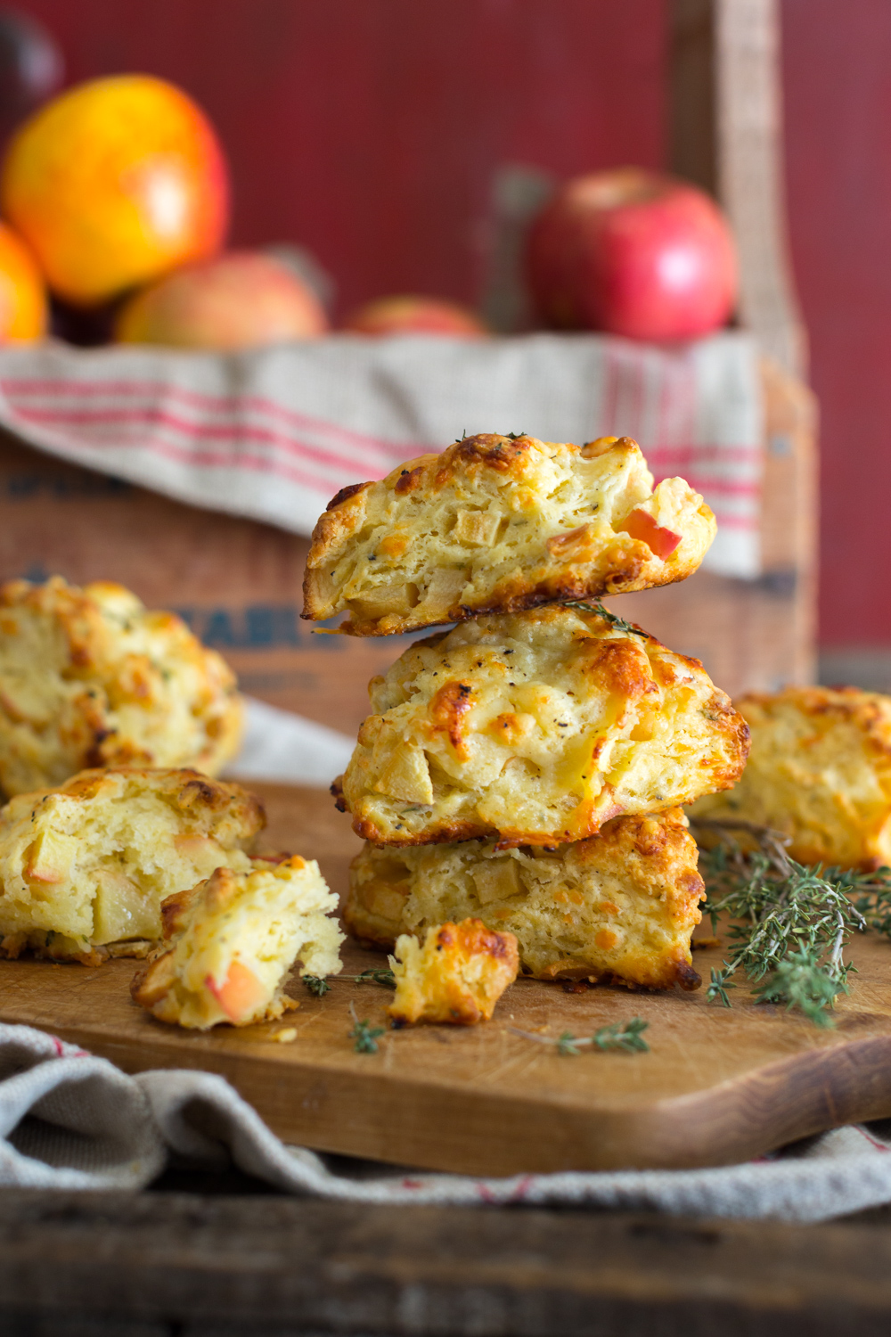 Apple Cheddar and Thyme Scones stacked.