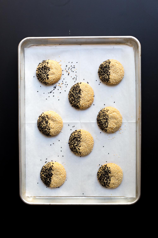 Black & White Tahini Cookies baked
