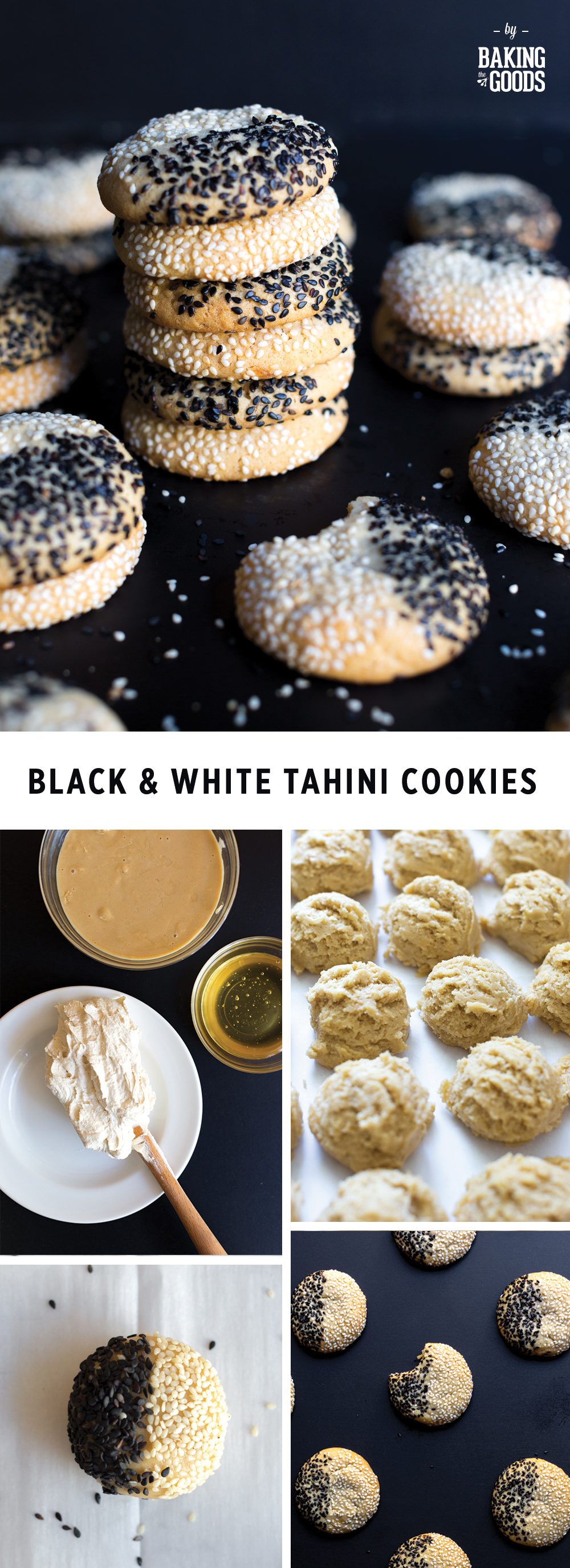 Black & White Tahini Cookies from Baking The Goods