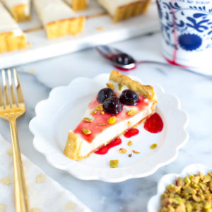 Ricotta & Amarena Cherry Tart with Pistachio Crust
