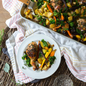 Apple Cider Brined Chicken with Roasted Veggies & Herbs