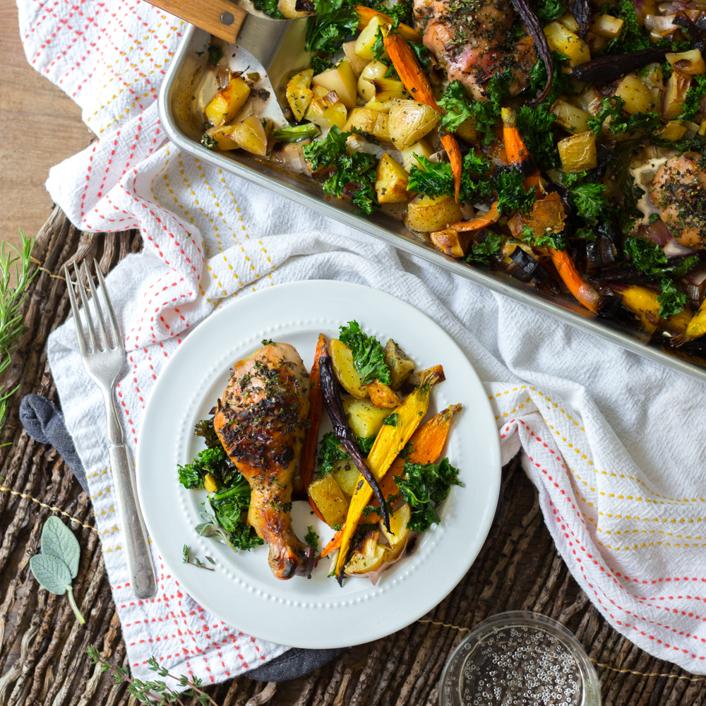 Apple Cider Brined Chicken with Roasted Veggies & Herbs by Baking The Goods.