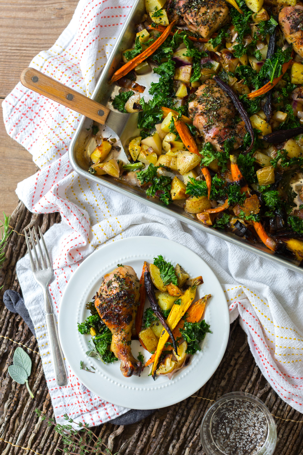 Apple Cider Brined Chicken with Roasted Veggies & Herbs plate.