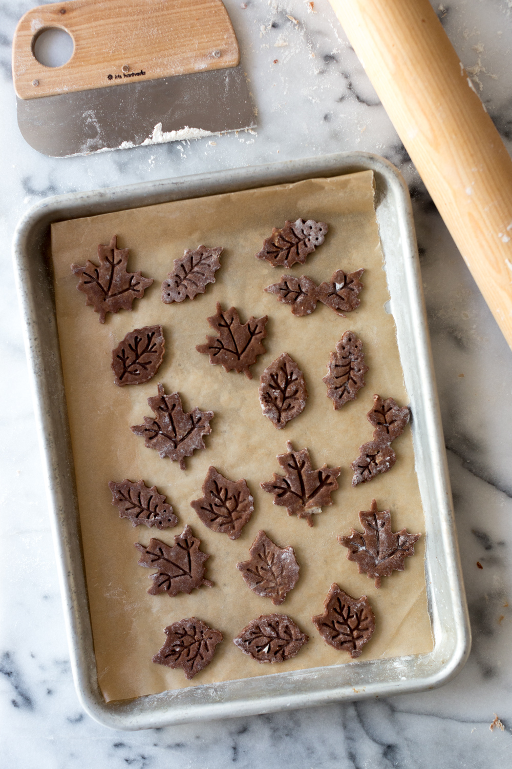 Chocolate Hazelnut Maple Bourbon Pie dough leaves.