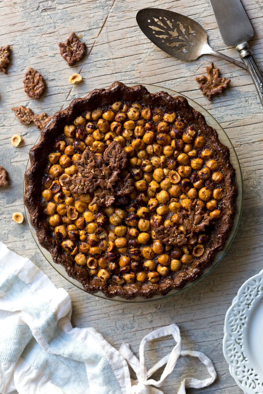 Chocolate Hazelnut Maple Bourbon Pie baked.