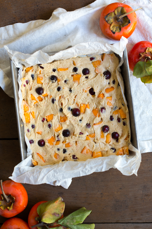 Persimmon Cranberry Crumb Cake batter