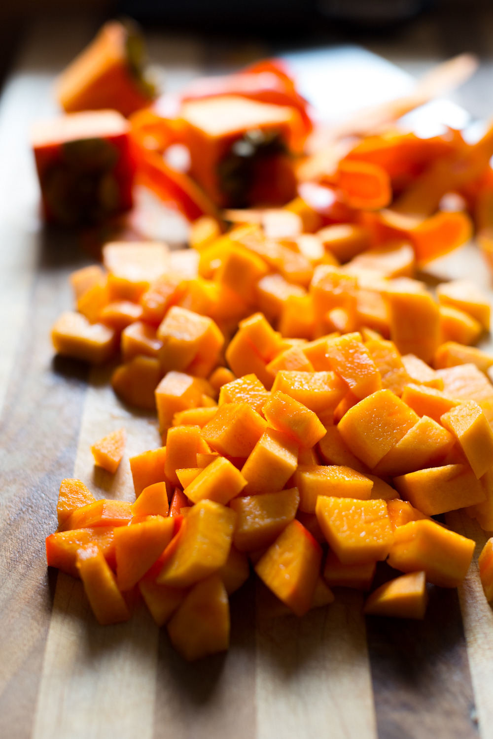 Chopped fuyu persimmons for Persimmon Cranberry Crumb Cake-13