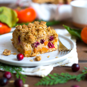 Persimmon Cranberry Oat Crumb Cake