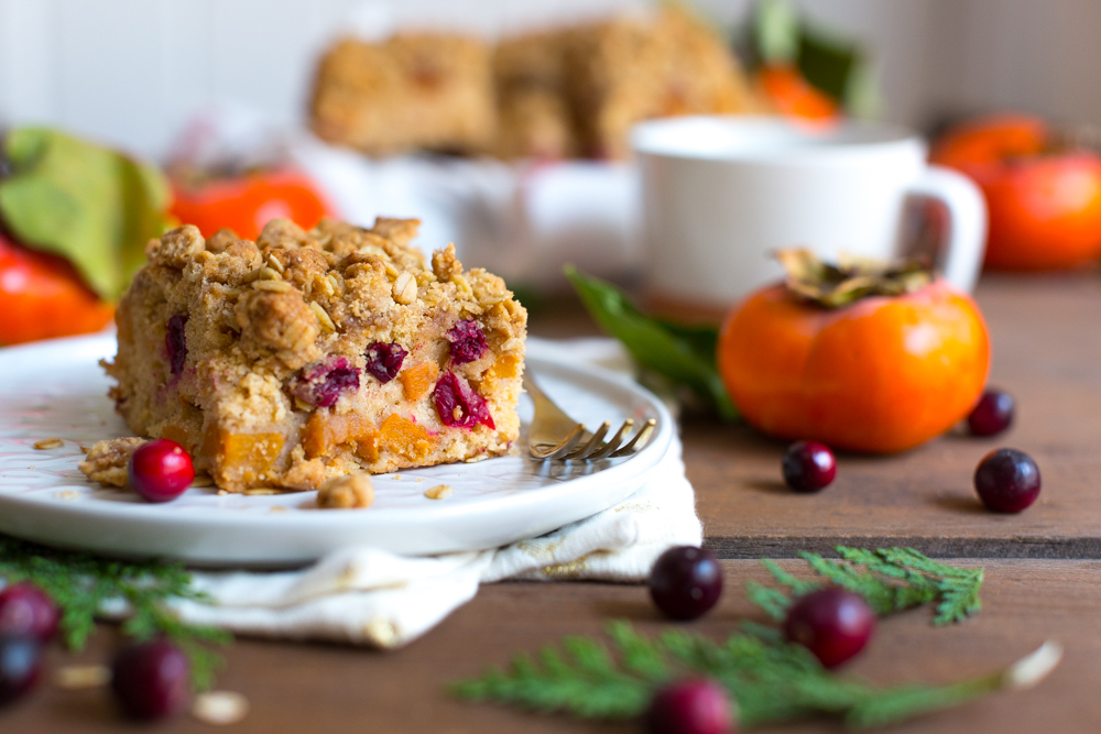 Persimmon Cranberry Crumb Cake slice - wide