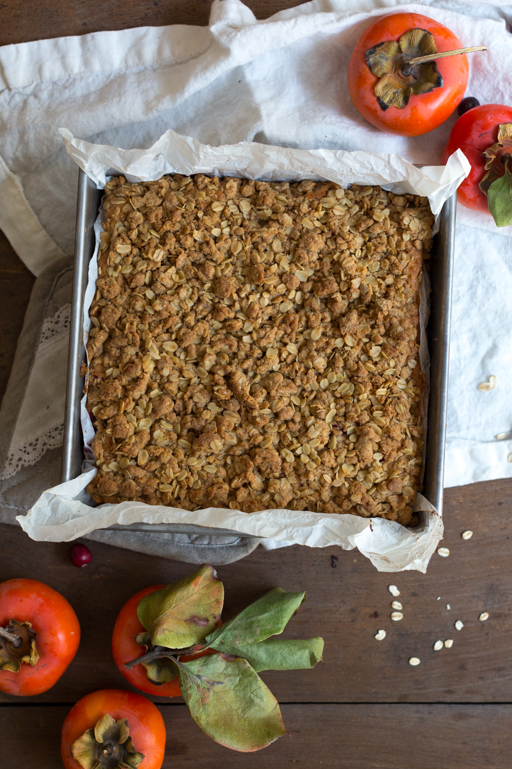 Persimmon Cranberry Crumb Cake baked