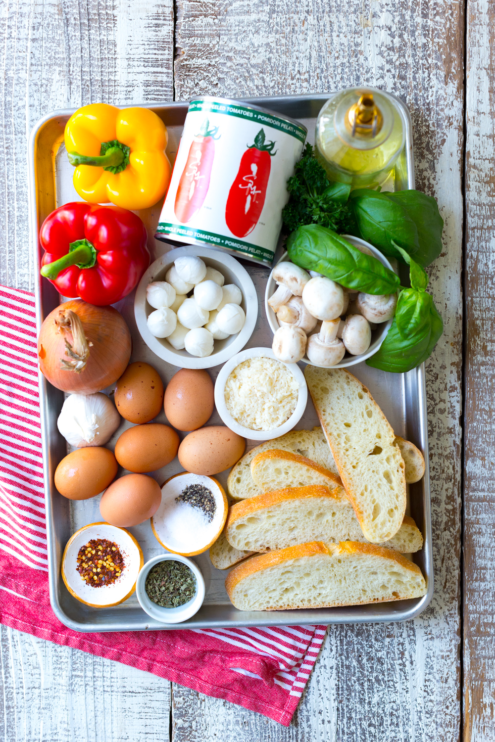 Sheet Pan Italian Baked Eggs ingredients