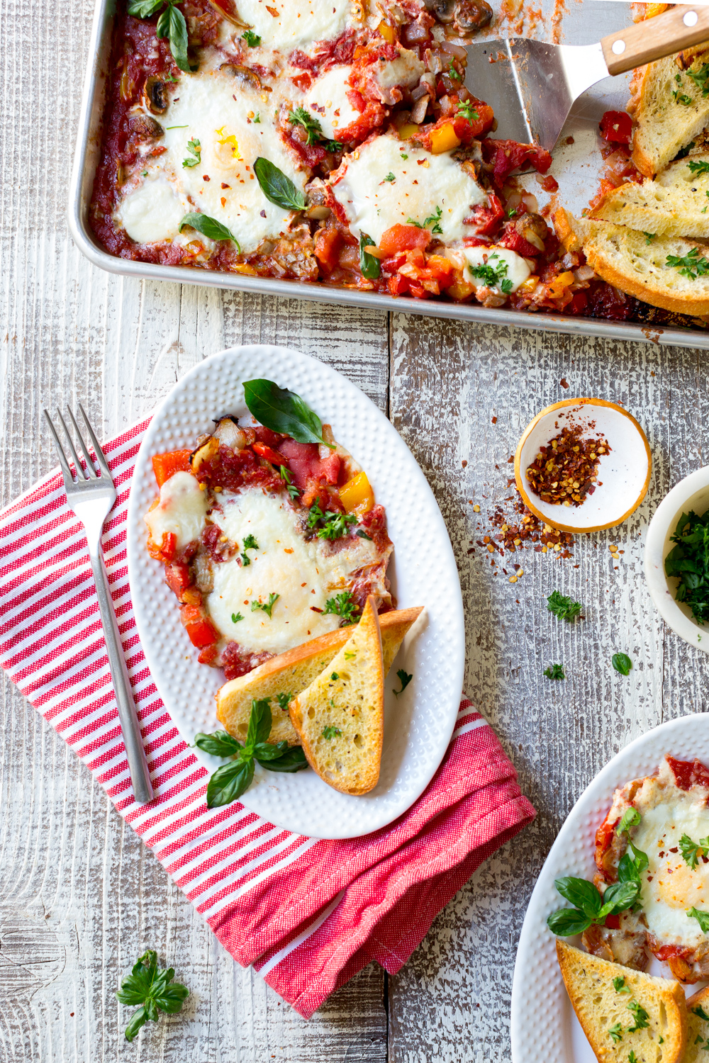 Sheet Pan Italian Baked Eggs serving
