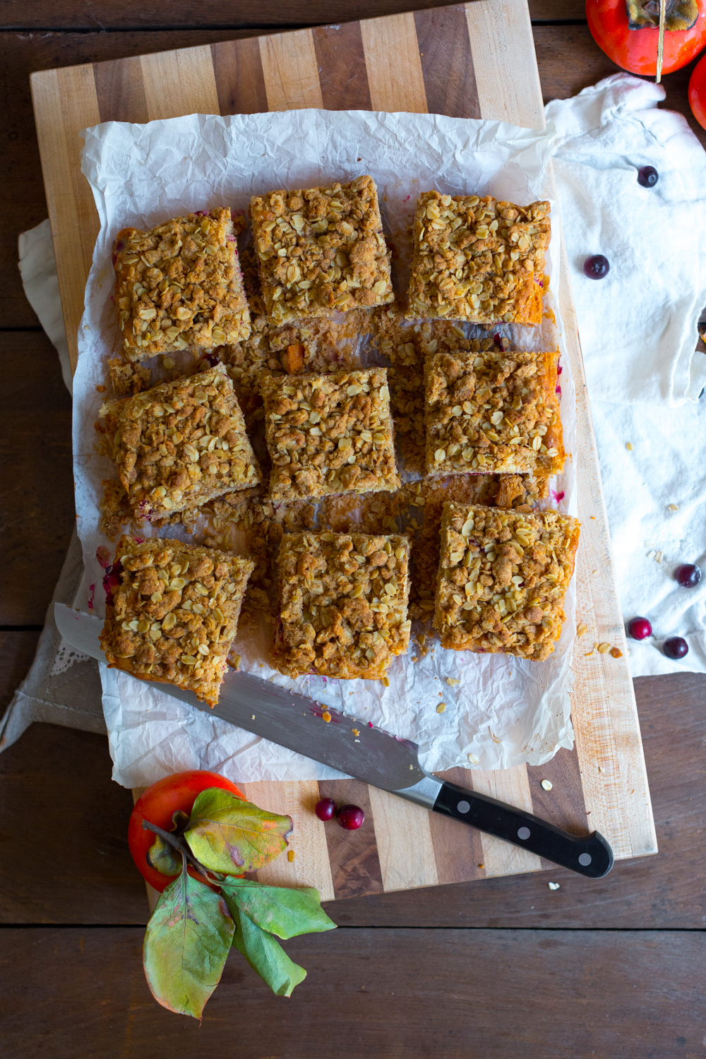 Persimmon Cranberry Crumb Cake sliced