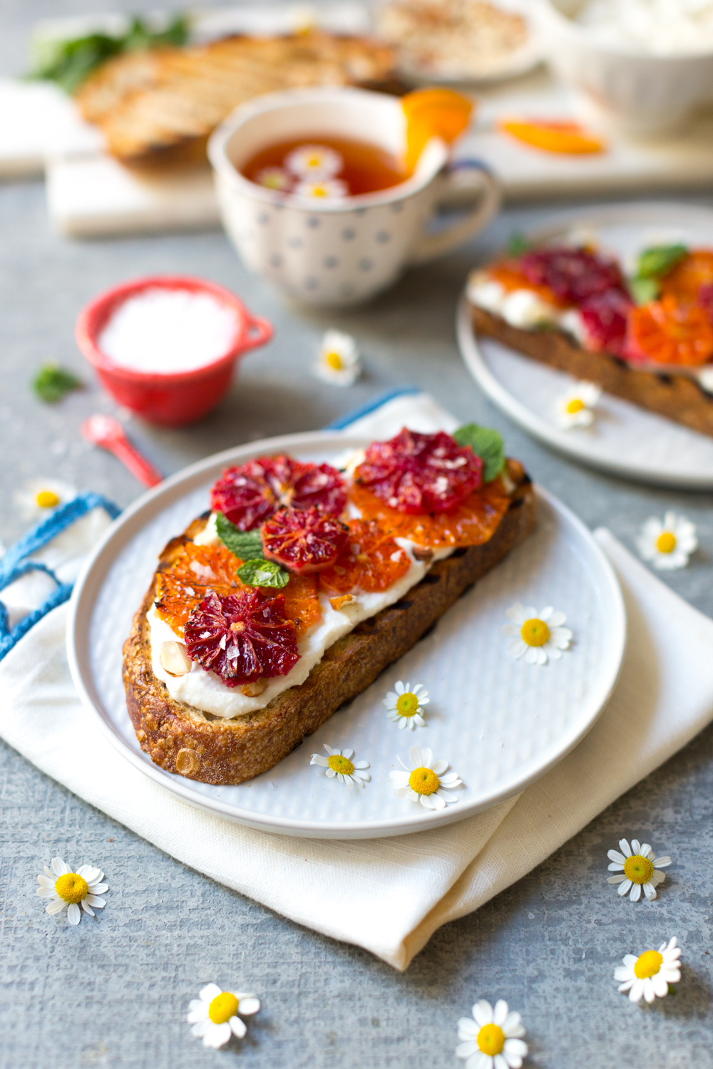 Broiled Orange Whipped Ricotta Toasts from Baking The Goods