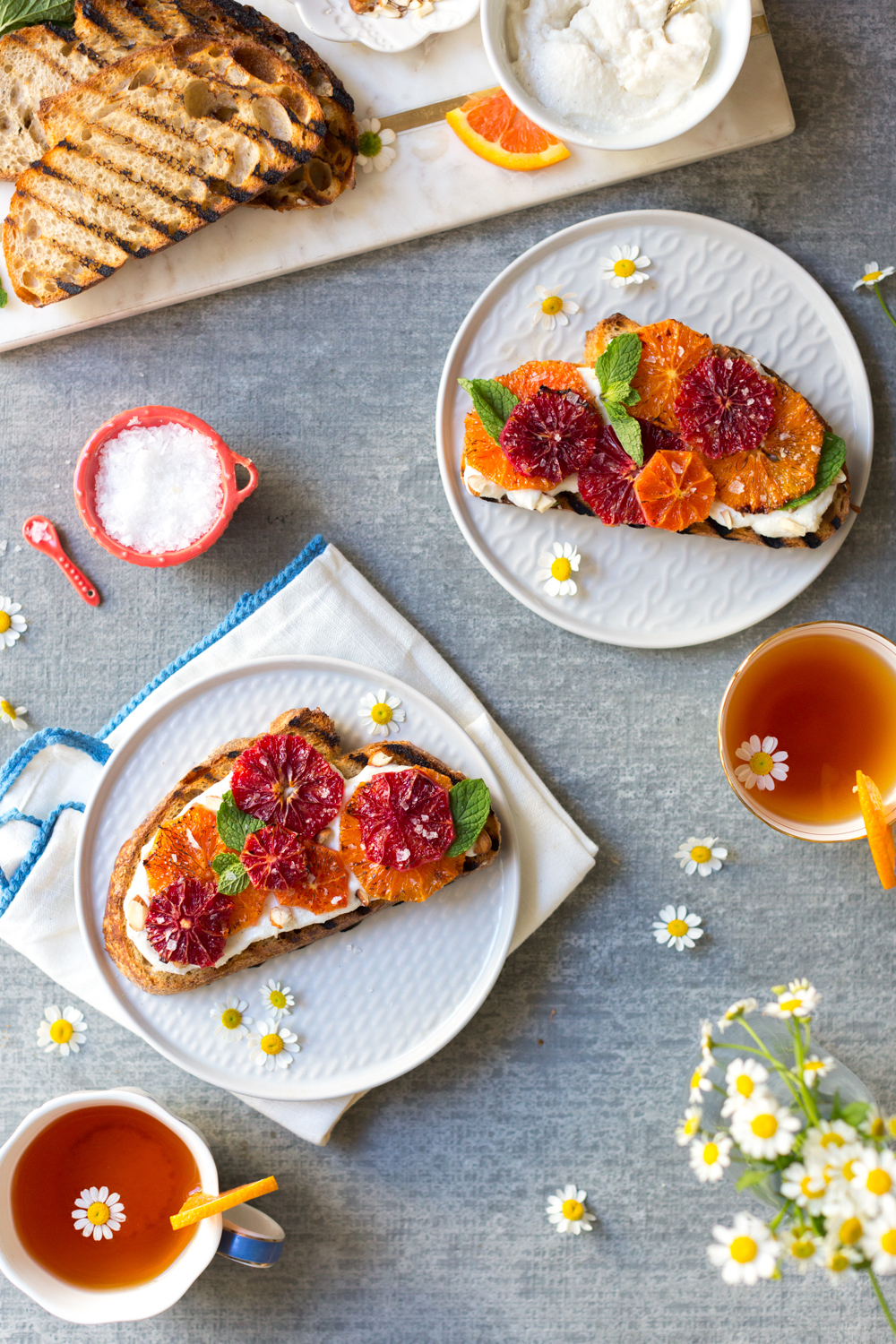 Broiled Orange Whipped Ricotta Toasts with tea