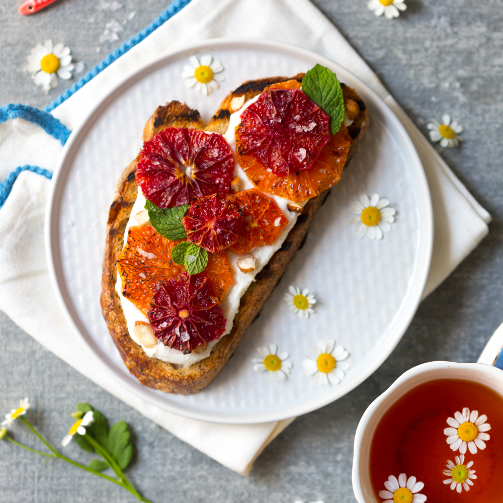 Broiled Orange Whipped Ricotta Toasts by Baking The Goods