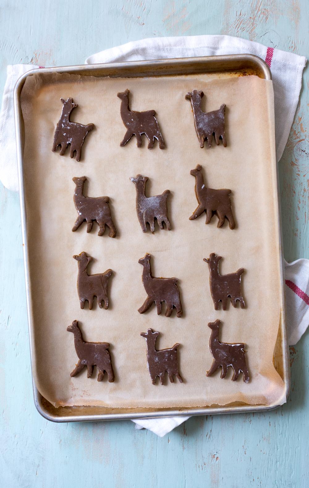Gingerbread Coconut Llama Cookies - pre-bake