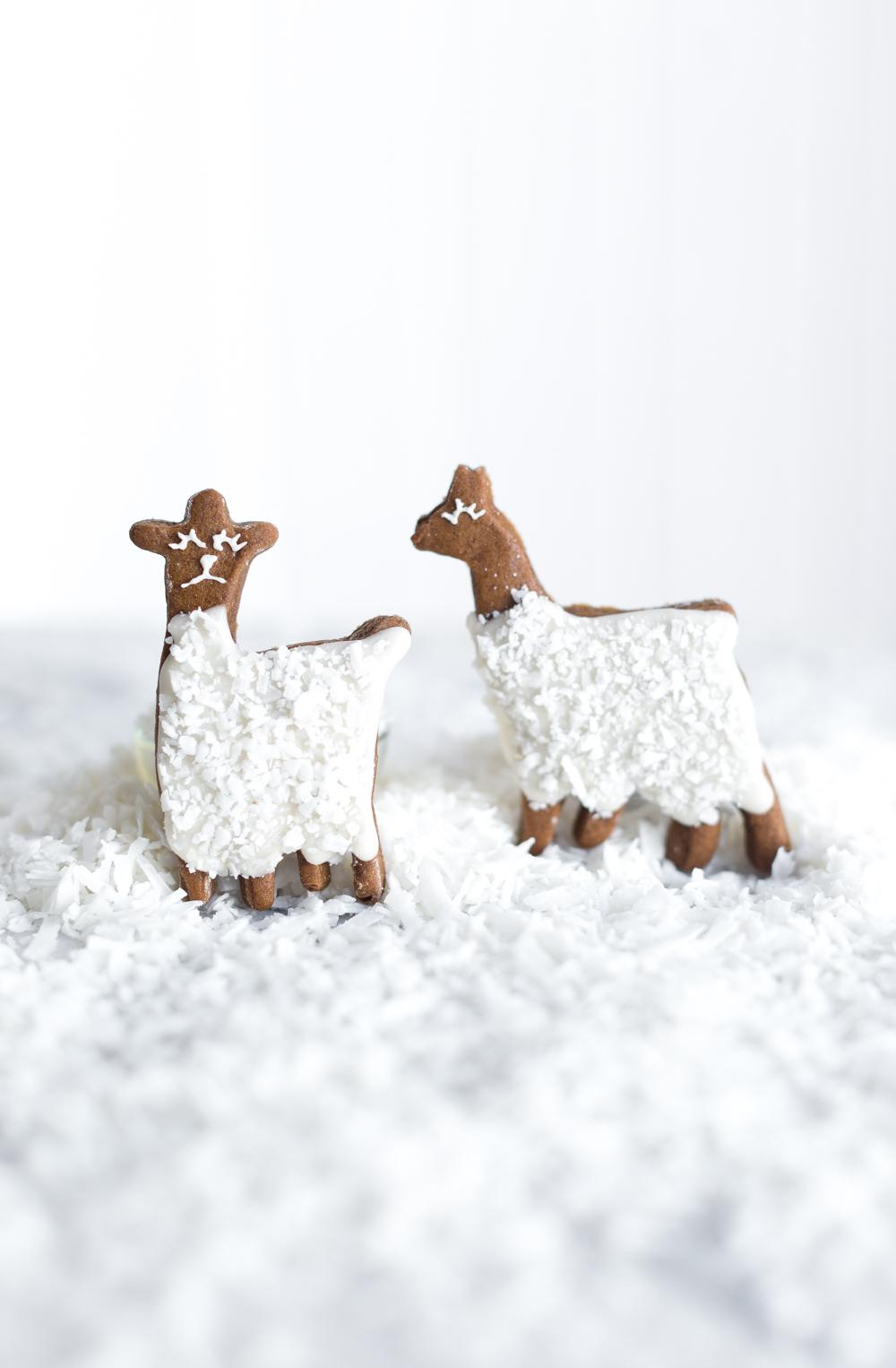 2 standing Gingerbread Coconut Llama Cookies
