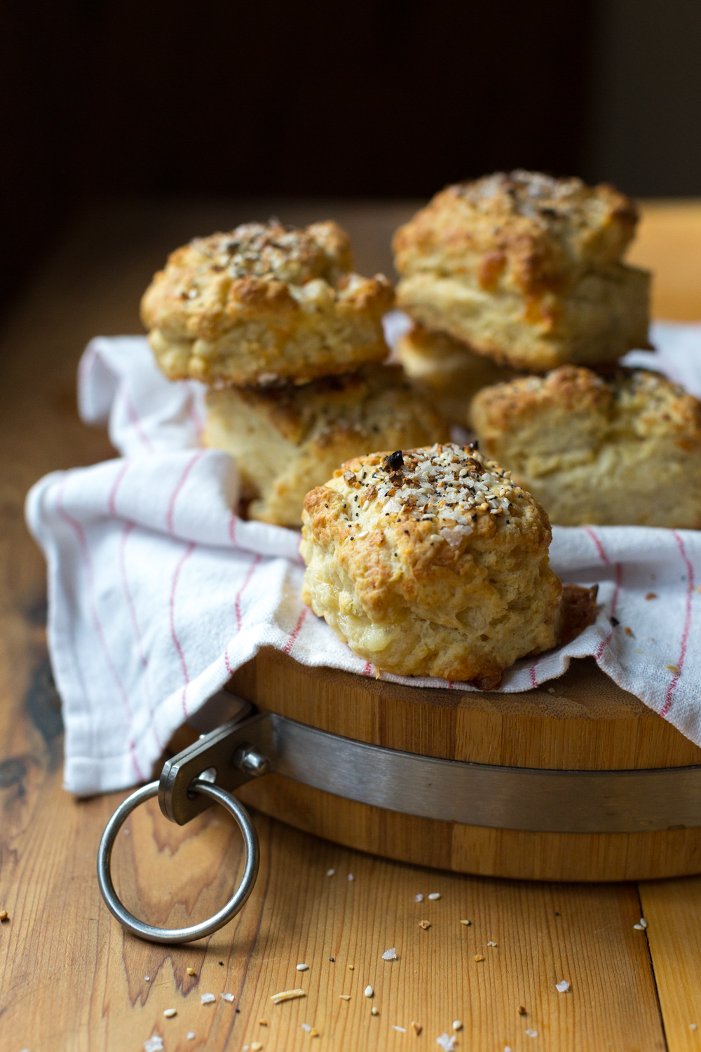 Stack of Goat Cheese Everything Biscuits