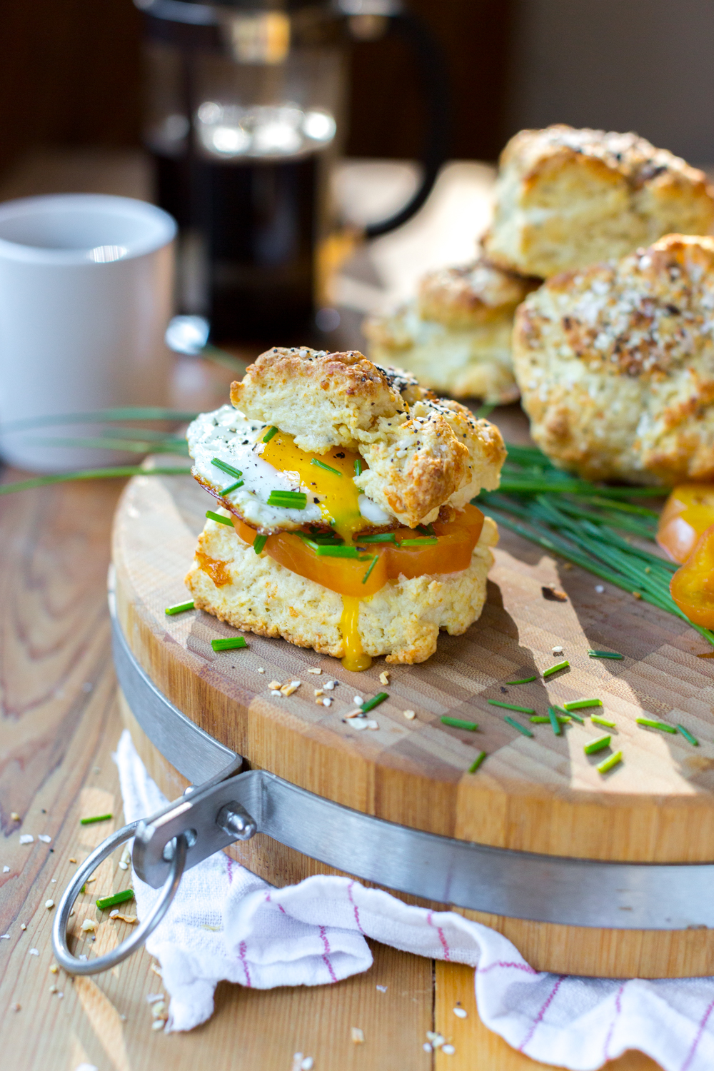 Goat Cheese Everything Biscuits sandwich