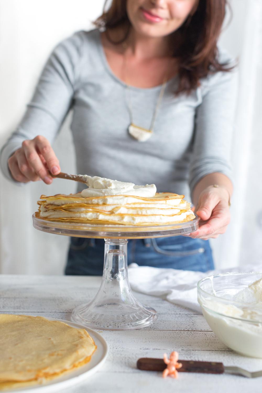 Crepe King Cake adding whipped mascarpone