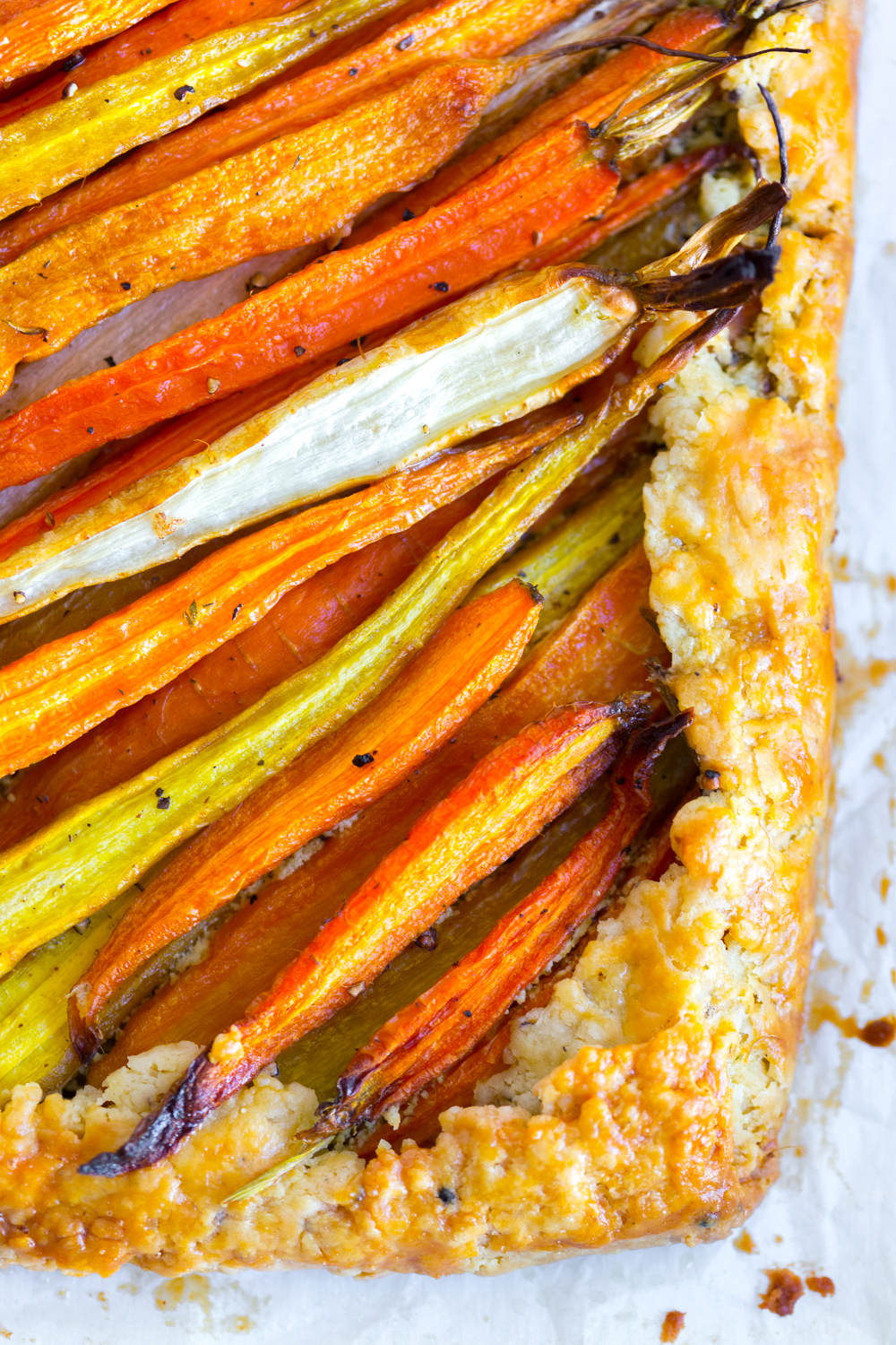 Roasted Carrot & Herby Feta Galette cooling