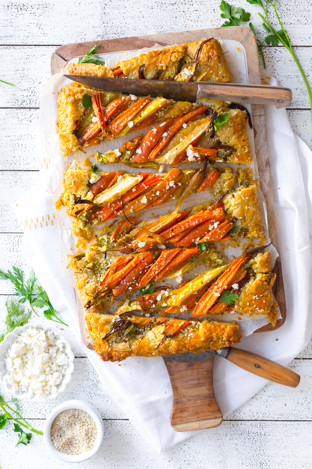 Roasted Carrot & Herby Feta Galette sliced