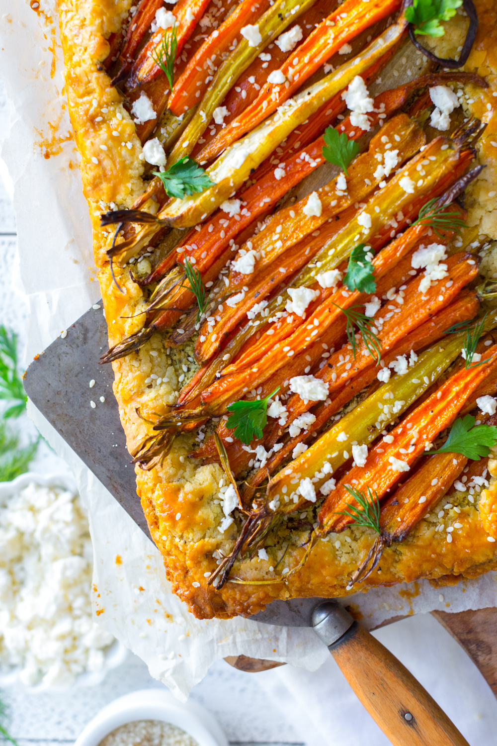 Roasted Carrot & Herby Feta Galette close