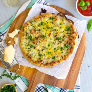 Cheesy Garlic Bread Pizza by Baking The Goods
