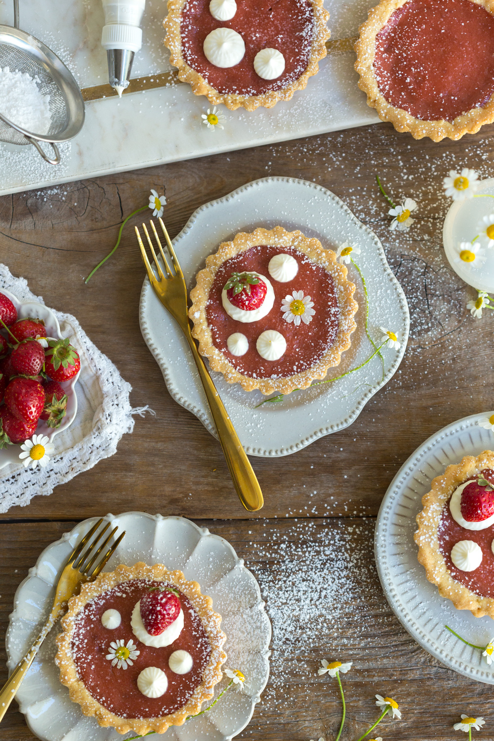 Strawberry Rhubarb Curd Tartlets from Baking The Goods