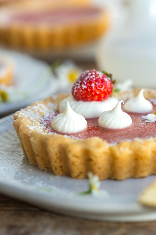 Strawberry Rhubarb Curd Tartlet with creme fraiche