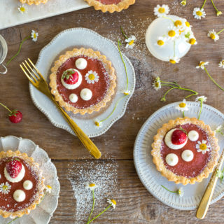 Strawberry Rhubarb Curd Tartlets by Baking The Goods