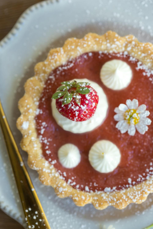 Strawberry Rhubarb Curd Tartlets close up