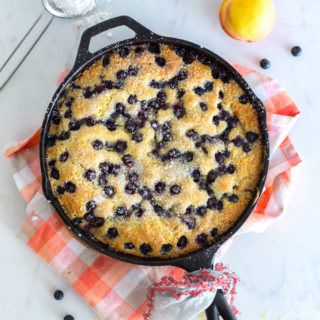 Blueberry Peach Cornmeal Skillet Cake by Baking The Goods