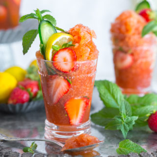 Strawberry Pimm's Cup Granita by Baking The Goods