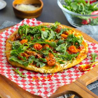 Tomato Confit Burrata and Arugula Pizza by Baking The Goods