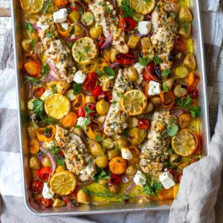 Herby Feta Lemon Chicken and Veggie Sheet Pan Dinner by Baking The Goods