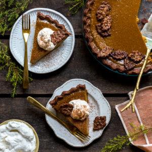 Maple Pumpkin Pie With A Chocolate Crust