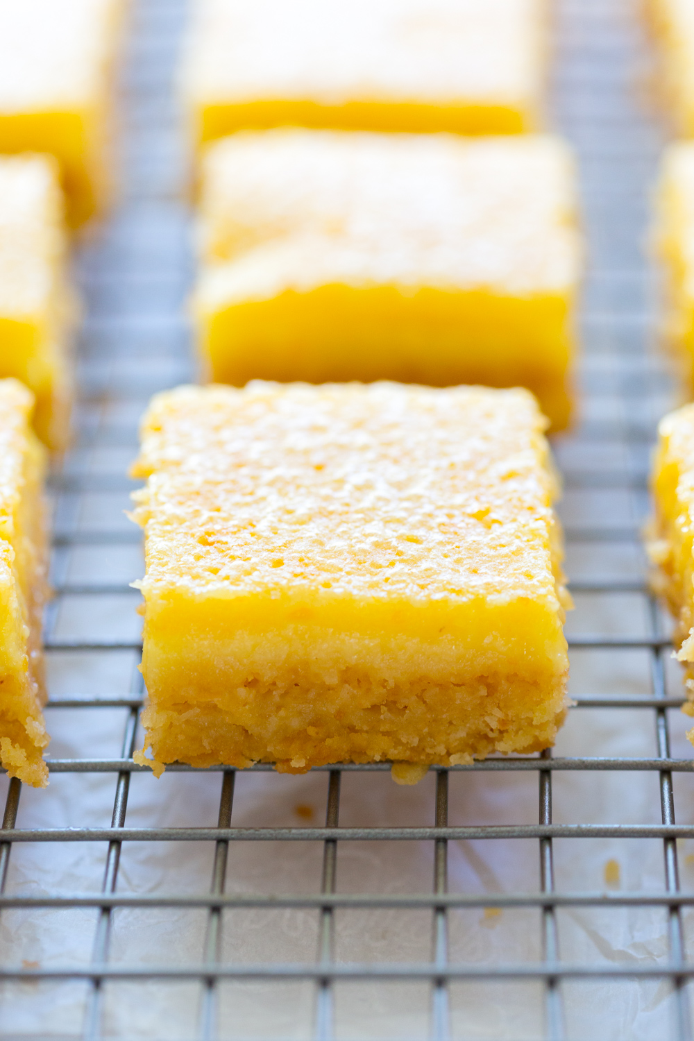 Grapefruit Coconut Bars on wire rack