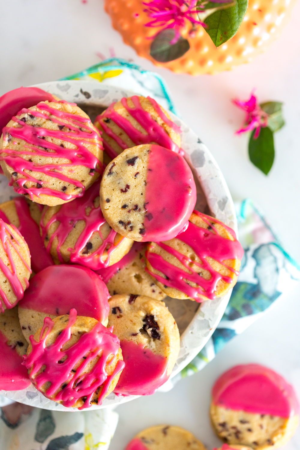 Glazed Hibiscus Shortbread Cookies - Baking the Goods