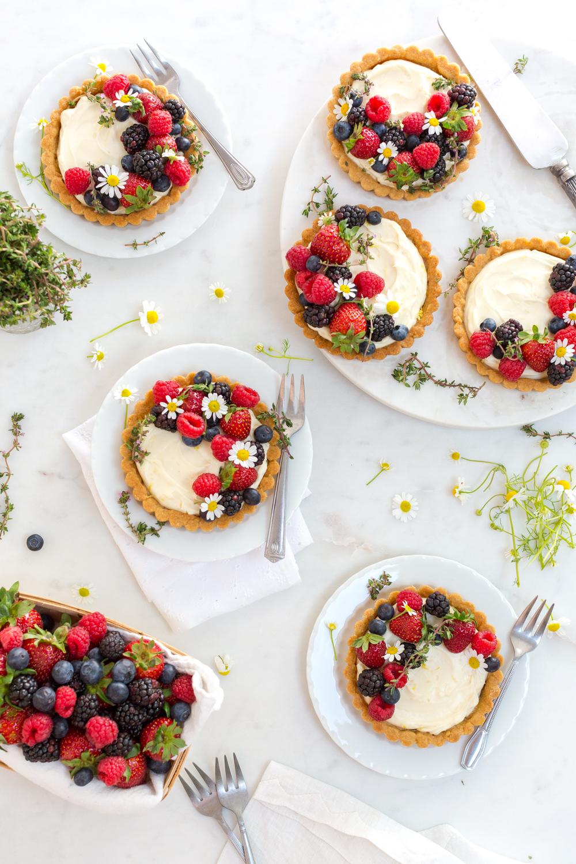 Berry Mascarpone Tarts with Almond Shortbread Crust