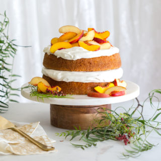 Nectarines and Creme Pink Peppercorn Honey Cake by Baking The Goods